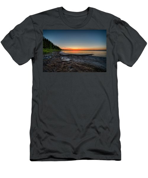 Men's T-Shirt (Slim Fit) featuring the photograph Skeleton Lake Beach At Sunset by Darcy Michaelchuk