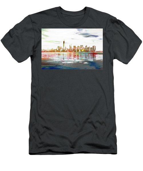Skyline Of New York City, United States Men's T-Shirt (Athletic Fit)