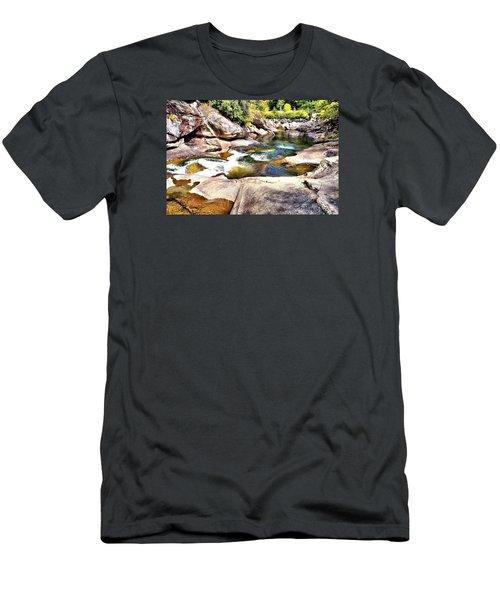 Sliding Rock Falls Men's T-Shirt (Slim Fit) by James Potts