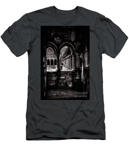 Men's T-Shirt (Slim Fit) featuring the photograph Sligo Abbey Interior Bw by RicardMN Photography