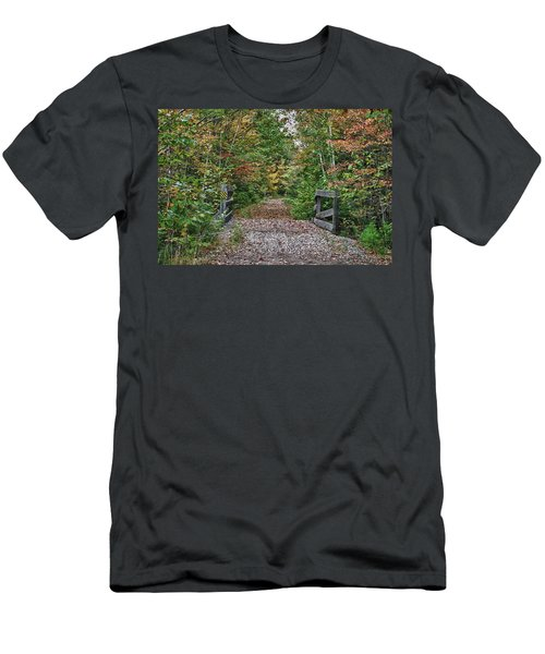 Men's T-Shirt (Athletic Fit) featuring the photograph Small Trestle Along Rail Trail by Jeff Folger