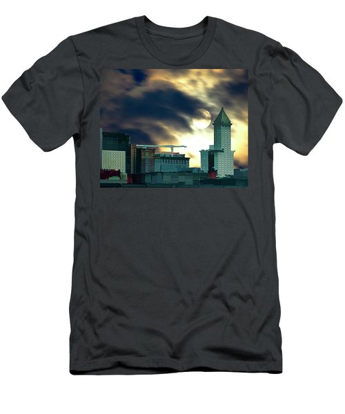 Men's T-Shirt (Slim Fit) featuring the photograph Smithtower Moon by Dale Stillman