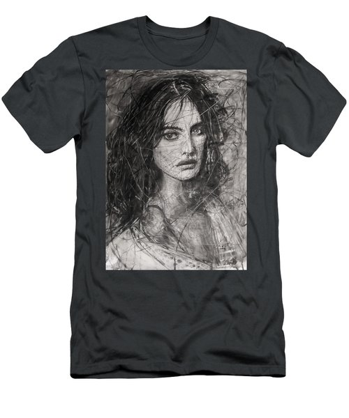 Men's T-Shirt (Slim Fit) featuring the painting Smoky Noir... Ode To Paolo Roversi And Natalia Vodianova  by Jarko Aka Lui Grande