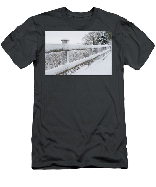 Snow Covered Fence Men's T-Shirt (Slim Fit) by Helen Northcott