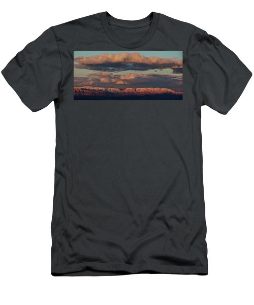 Men's T-Shirt (Slim Fit) featuring the photograph Snow Covered Red Rock Panorama by Ron Chilston