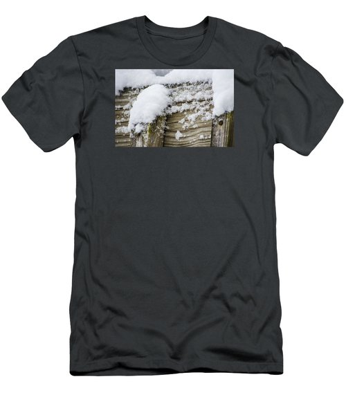 Men's T-Shirt (Slim Fit) featuring the photograph Snow Fluff And Woodgrain by Deborah Smolinske