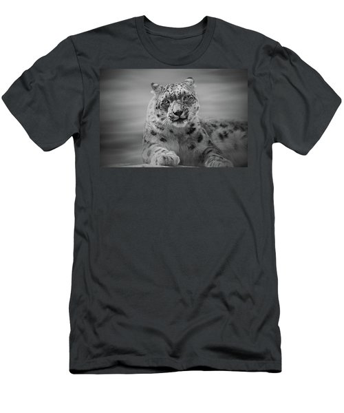 Men's T-Shirt (Slim Fit) featuring the photograph Snow Leopard  Bw by Sandy Keeton