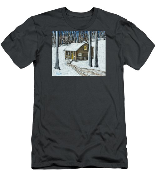 Snow On Cabin Men's T-Shirt (Slim Fit) by Reb Frost