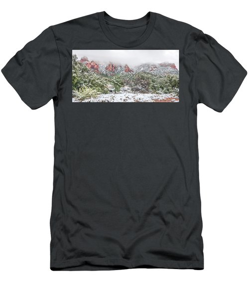Snow On Red Rock Men's T-Shirt (Athletic Fit)