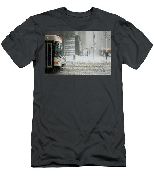 Men's T-Shirt (Athletic Fit) featuring the photograph Snow Storm Bus Stop by Stephen Holst
