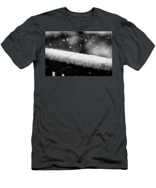 Snowfall On The Handrail Men's T-Shirt (Slim Fit) by Jason Coward