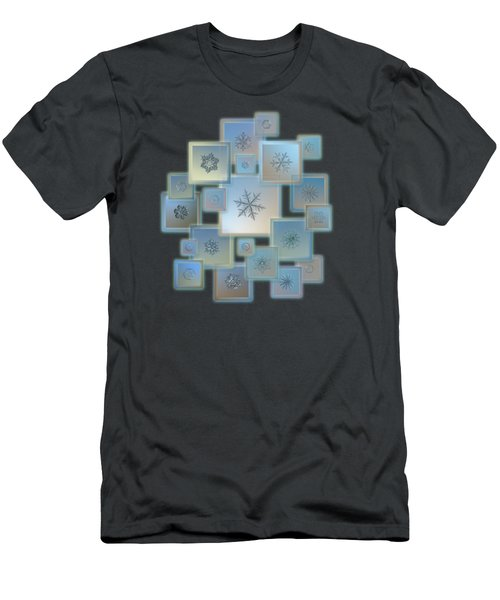 Men's T-Shirt (Athletic Fit) featuring the photograph Snowflake Collage - Bright Crystals 2012-2014 by Alexey Kljatov