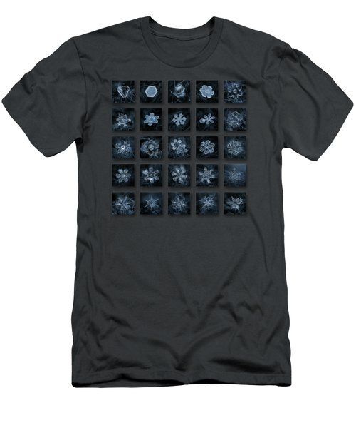 Men's T-Shirt (Slim Fit) featuring the photograph Snowflake Collage - Season 2013 Dark Crystals by Alexey Kljatov