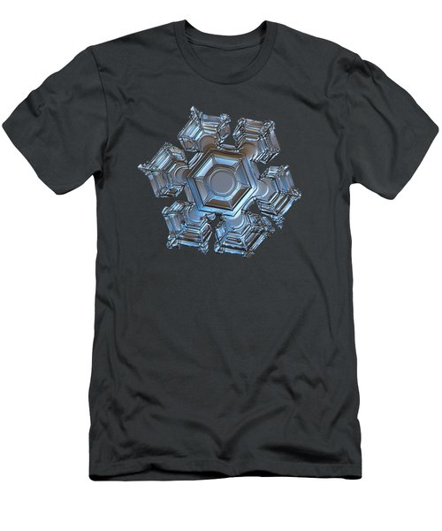 Men's T-Shirt (Slim Fit) featuring the photograph Snowflake Photo - Cold Metal by Alexey Kljatov