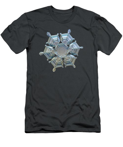 Men's T-Shirt (Athletic Fit) featuring the photograph Snowflake Photo - Ice Relief by Alexey Kljatov