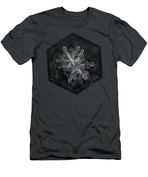 Men's T-Shirt (Athletic Fit) featuring the photograph Snowflake Photo - January 18 2013 Grey Colors by Alexey Kljatov