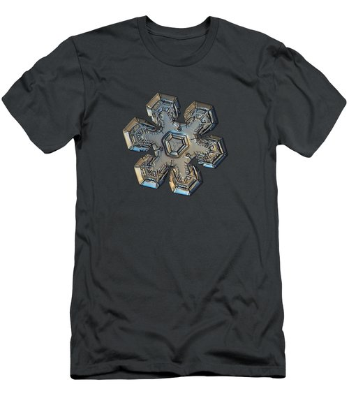 Men's T-Shirt (Slim Fit) featuring the photograph Snowflake Photo - Massive Gold by Alexey Kljatov