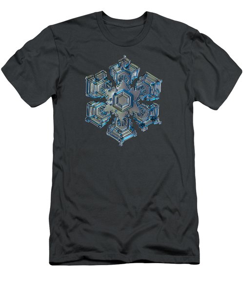 Men's T-Shirt (Slim Fit) featuring the photograph Snowflake Photo - Silver Foil by Alexey Kljatov
