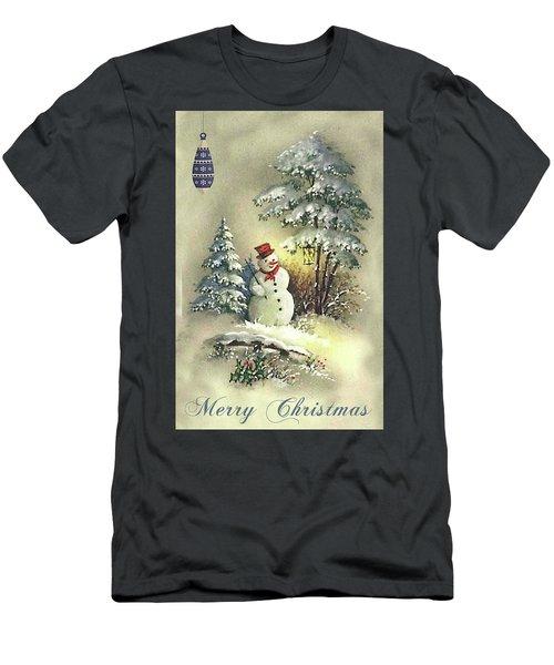 Men's T-Shirt (Slim Fit) featuring the digital art Snowman Christmas Card by Greg Sharpe