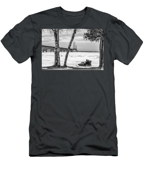 Men's T-Shirt (Slim Fit) featuring the photograph Snowmobile Michigan Black And White  by John McGraw