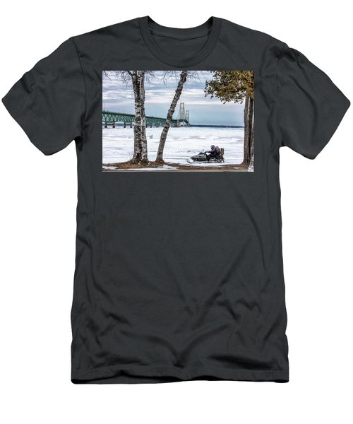 Men's T-Shirt (Slim Fit) featuring the photograph Snowmobile Michigan  by John McGraw