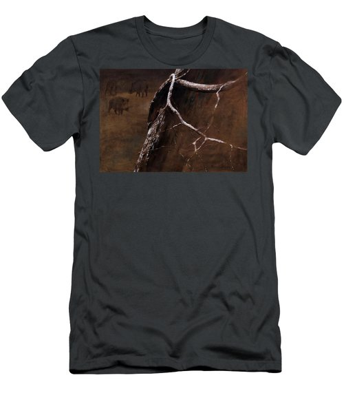 Snowy Branch With Wild Boars Men's T-Shirt (Athletic Fit)