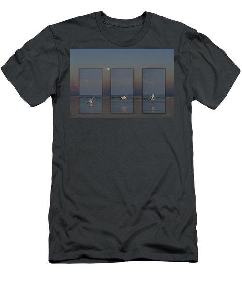 Snowy Egret Moon Men's T-Shirt (Athletic Fit)