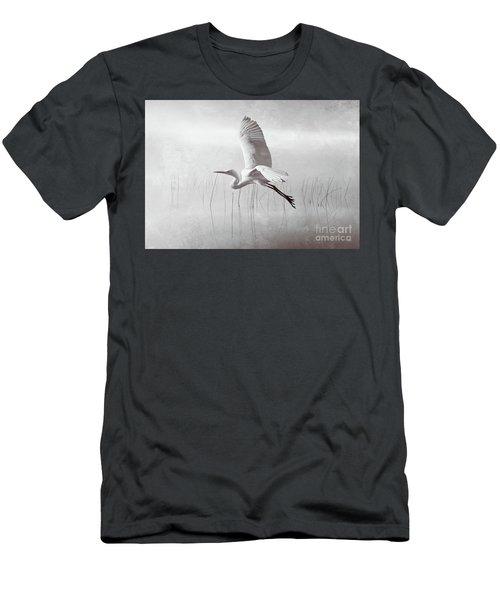 Snowy Egret Morning Bw Men's T-Shirt (Athletic Fit)