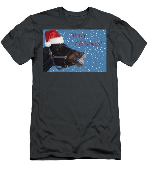 Snowy Horse Jumping Christmas Men's T-Shirt (Slim Fit) by Patricia Barmatz