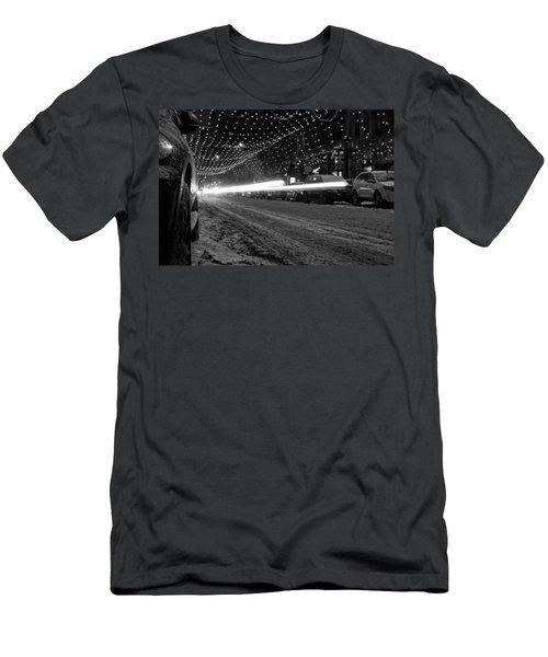 Snowy Night Light Trails Men's T-Shirt (Athletic Fit)