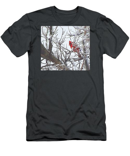 Men's T-Shirt (Athletic Fit) featuring the digital art Snowy Red Bird A Cardinal In Winter by Shelli Fitzpatrick