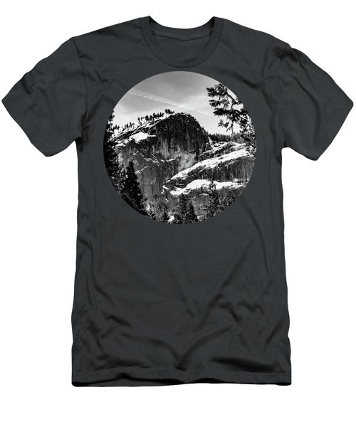 Snowy Sentinel, Black And White Men's T-Shirt (Athletic Fit)
