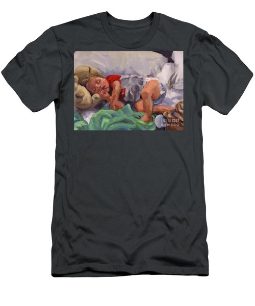 Men's T-Shirt (Slim Fit) featuring the painting Snug As A Bug by Nancy Parsons