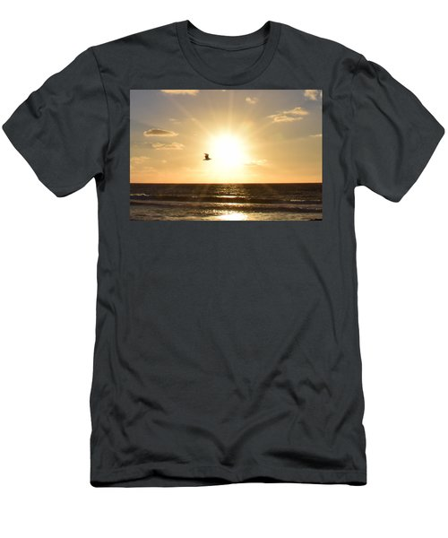 Soaring Seagull Sunset Over Imperial Beach Men's T-Shirt (Athletic Fit)
