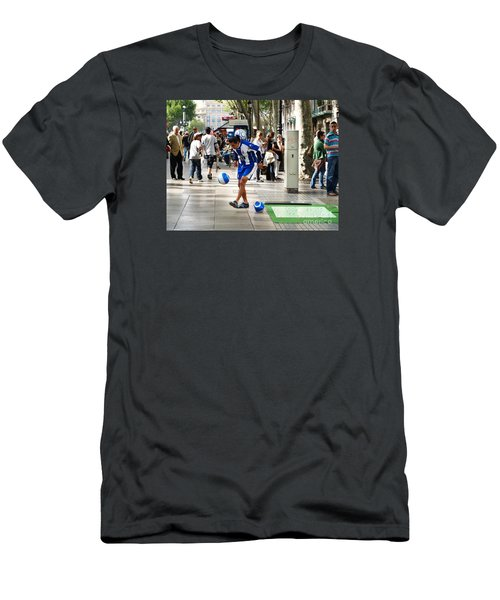 Men's T-Shirt (Slim Fit) featuring the photograph Soccer Performance by Haleh Mahbod