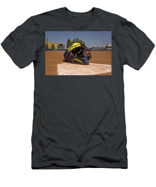 Softball Catcher Helmet Men's T-Shirt (Athletic Fit)