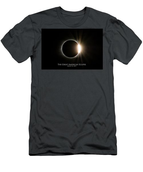 Men's T-Shirt (Athletic Fit) featuring the photograph Solar Eclipse Diamond Ring With Text by Lori Coleman