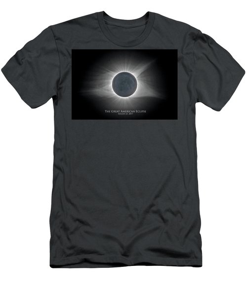 Men's T-Shirt (Athletic Fit) featuring the photograph Solar Eclipse With Moon Detail And Text by Lori Coleman