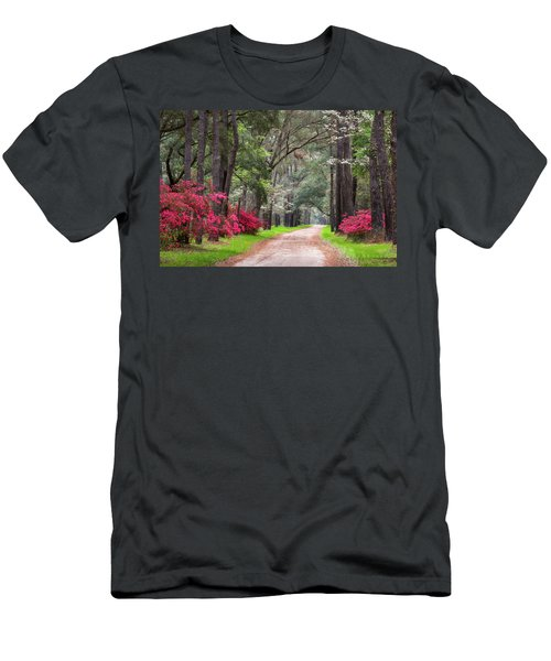 South Carolina Lowcountry Spring Flowers Dirt Road Edisto Island Sc Men's T-Shirt (Athletic Fit)