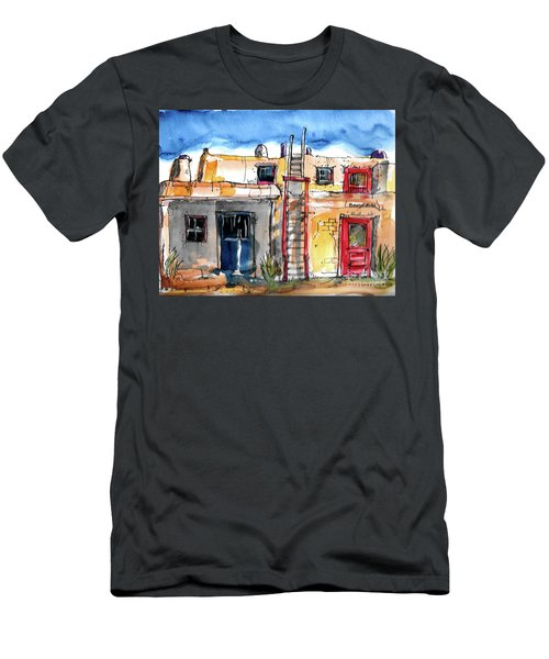 Men's T-Shirt (Slim Fit) featuring the painting Southwestern Home by Terry Banderas