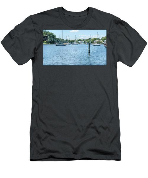 Spa Creek In Blue Men's T-Shirt (Athletic Fit)