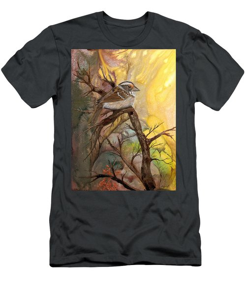 Men's T-Shirt (Slim Fit) featuring the painting Sparrow by Sherry Shipley