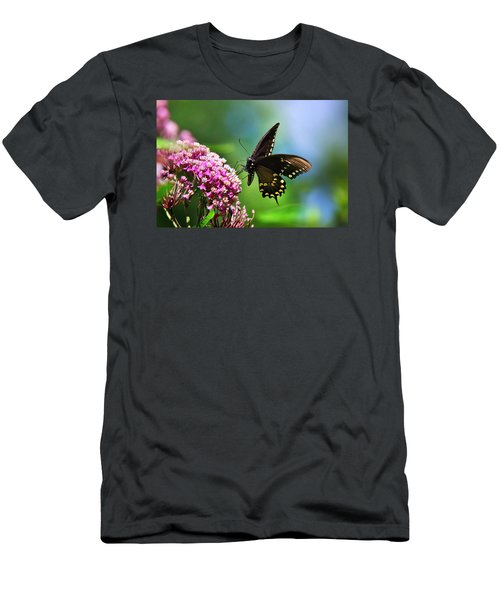 Spicebush Swallowtail Butterfly On Pink Flower Men's T-Shirt (Athletic Fit)