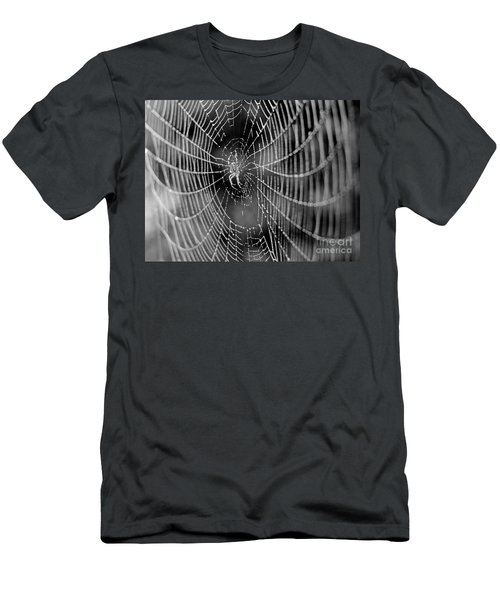 Spider In A Dew Covered Web - Black And White Men's T-Shirt (Athletic Fit)