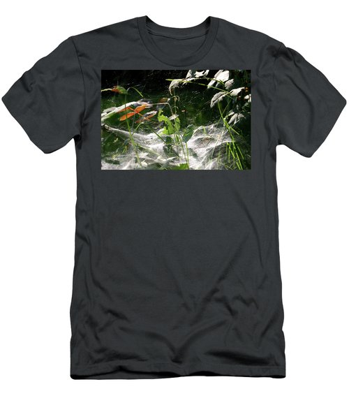 Men's T-Shirt (Slim Fit) featuring the photograph Spiderweb Over Rose Plants by Emanuel Tanjala