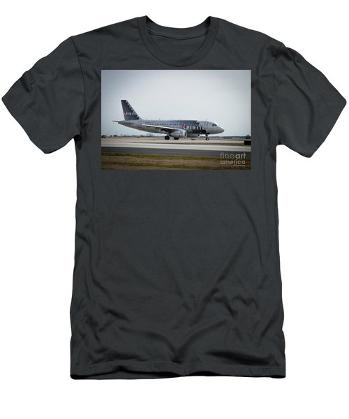 Men's T-Shirt (Slim Fit) featuring the photograph Spirit Airlines A319 Airbus N523nk Airplane Art by Reid Callaway