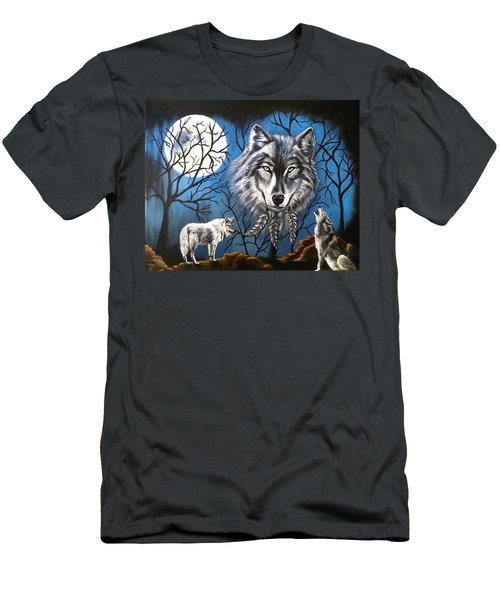 Men's T-Shirt (Slim Fit) featuring the painting Spirit Wolf by Teresa Wing