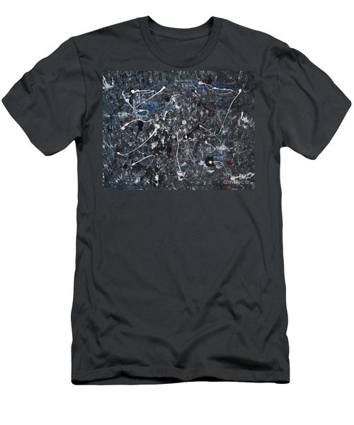 Men's T-Shirt (Slim Fit) featuring the painting Splattered - Grey by Jacqueline Athmann
