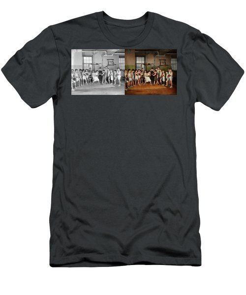 Men's T-Shirt (Slim Fit) featuring the photograph Sport - Boxing - Fists Of Fury 1924 - Side By Side by Mike Savad