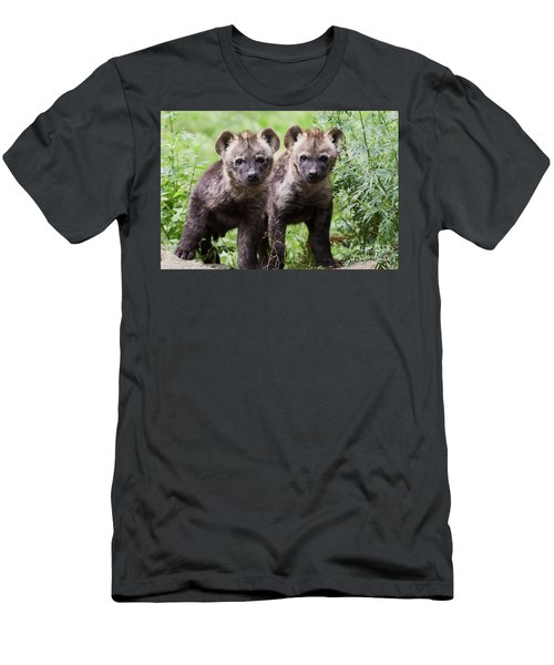 Men's T-Shirt (Athletic Fit) featuring the photograph Spotted Hyena Cubs I by Nick Biemans